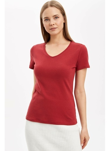 DeFacto V Yaka Basic Kısa Kollu T-Shirt Bordo